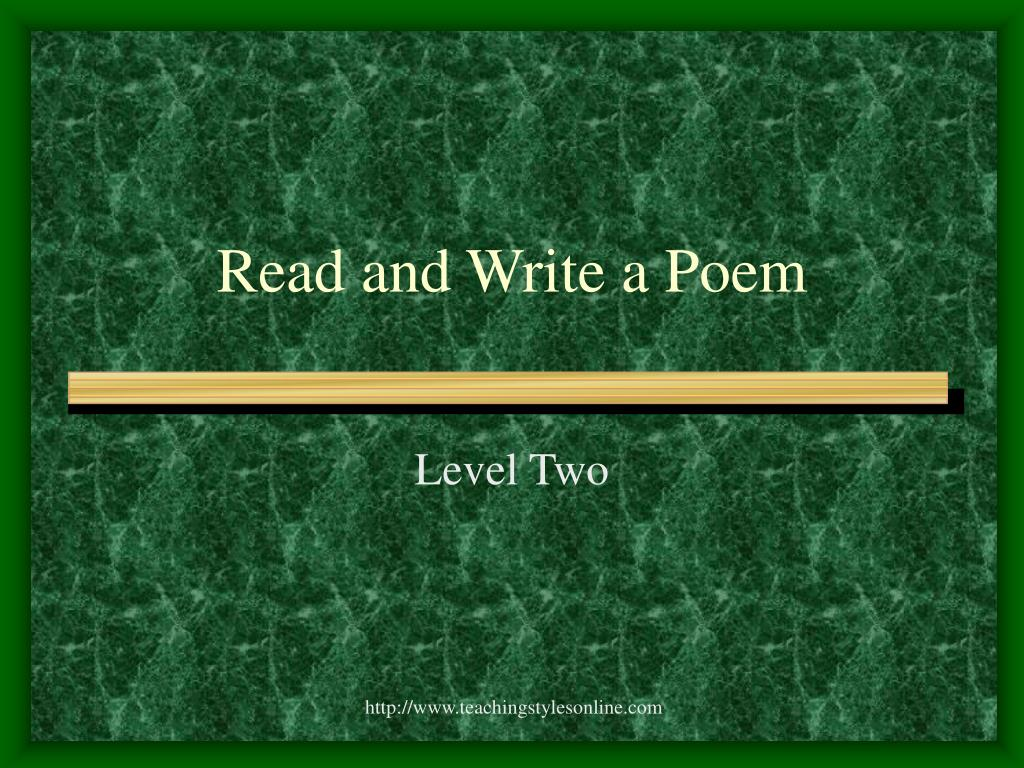Read and Write a Poem