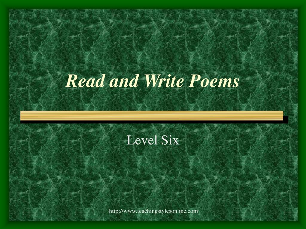 Read and Write Poems