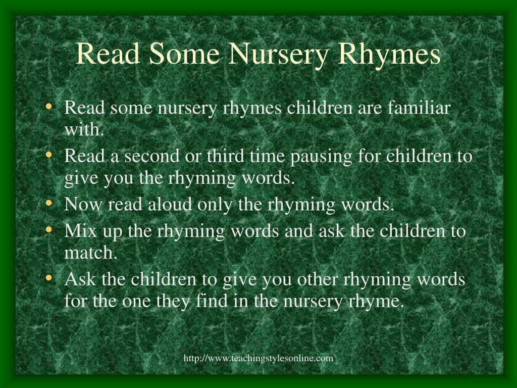 Read Some Nursery Rhymes