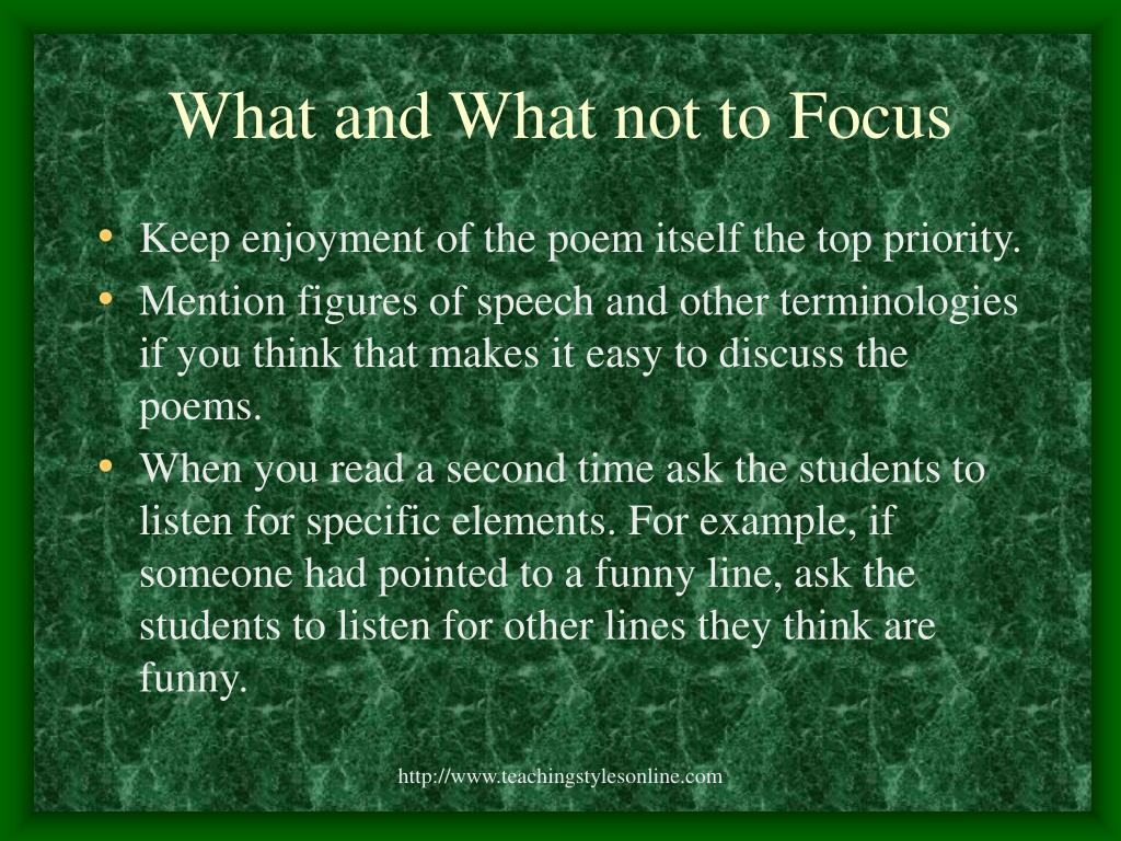 What and What not to Focus