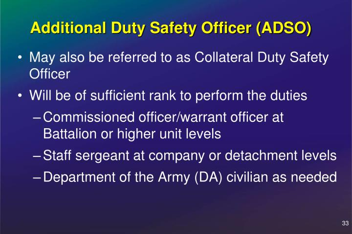 Additional Duty Safety Officer (ADSO)