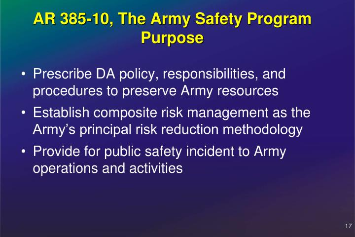 AR 385-10, The Army Safety Program Purpose
