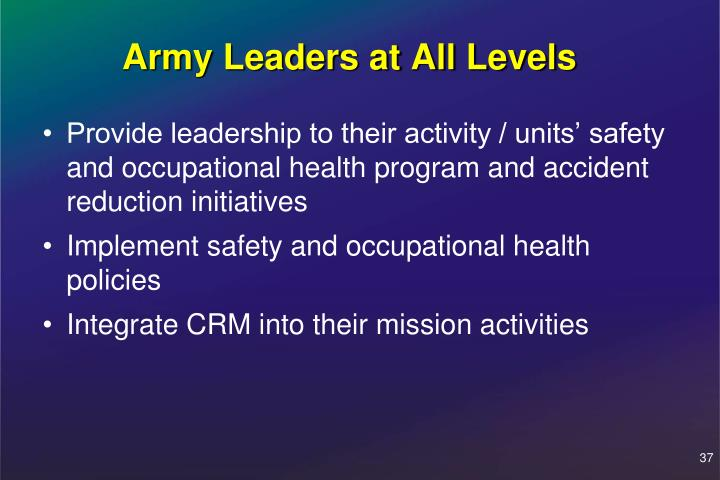 Army Leaders at All Levels