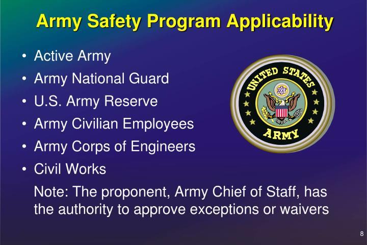 Army Safety Program Applicability
