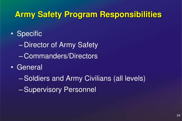 Army Safety Program Responsibilities