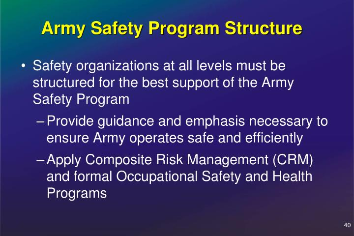 Army Safety Program Structure