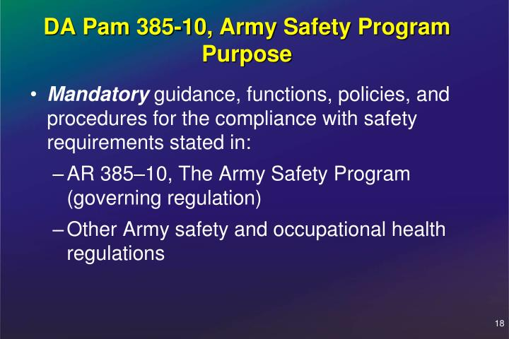 DA Pam 385-10, Army Safety Program Purpose