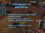 ethnography of mmorpgs