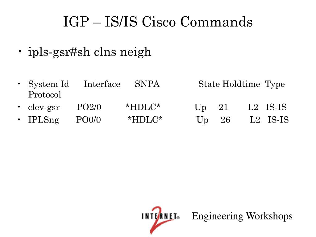 IGP – IS/IS Cisco Commands