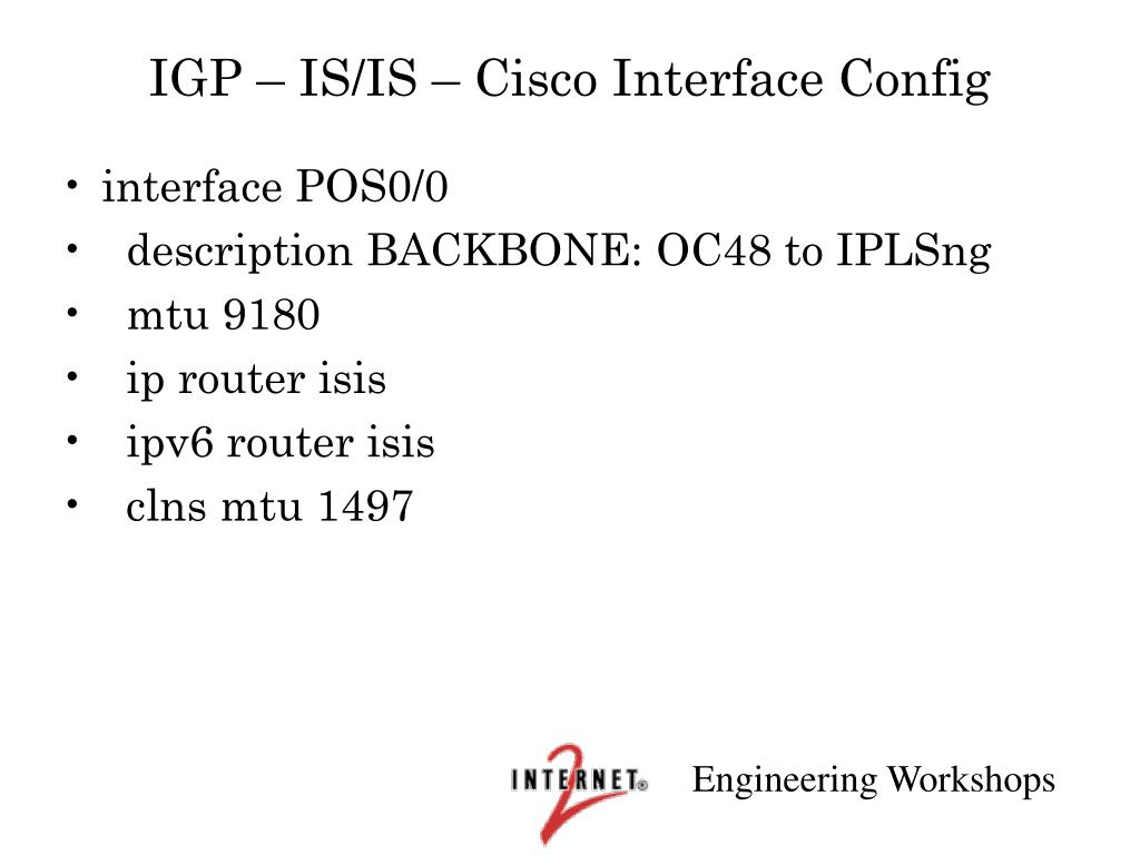 IGP – IS/IS – Cisco Interface Config