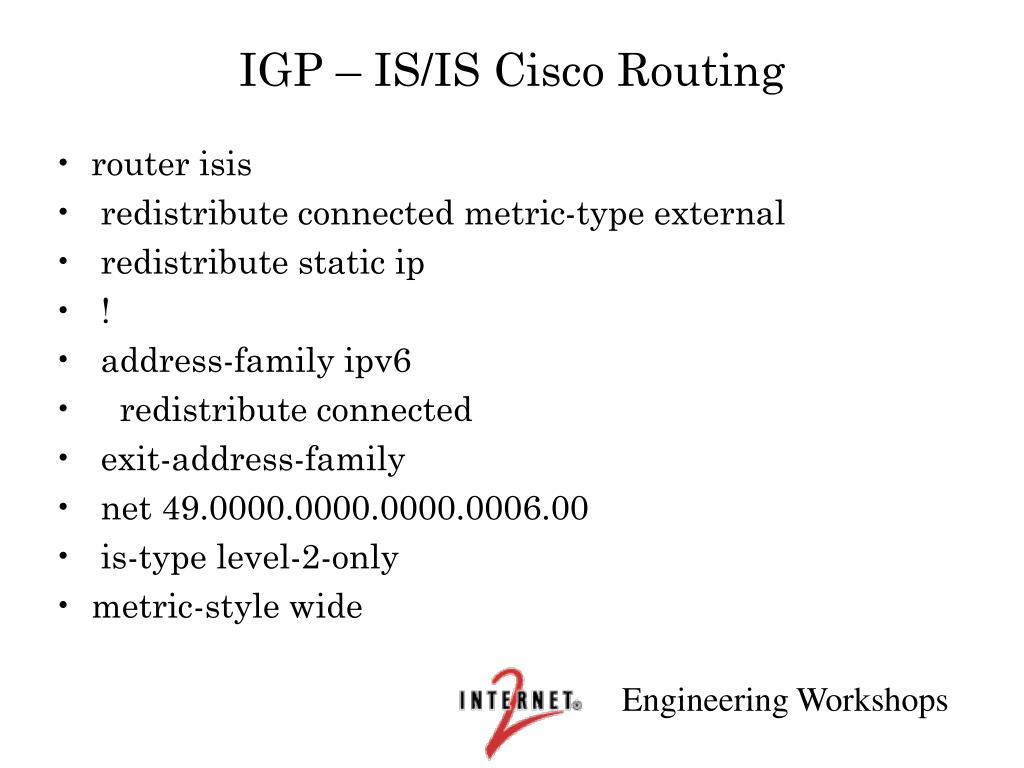 IGP – IS/IS Cisco Routing