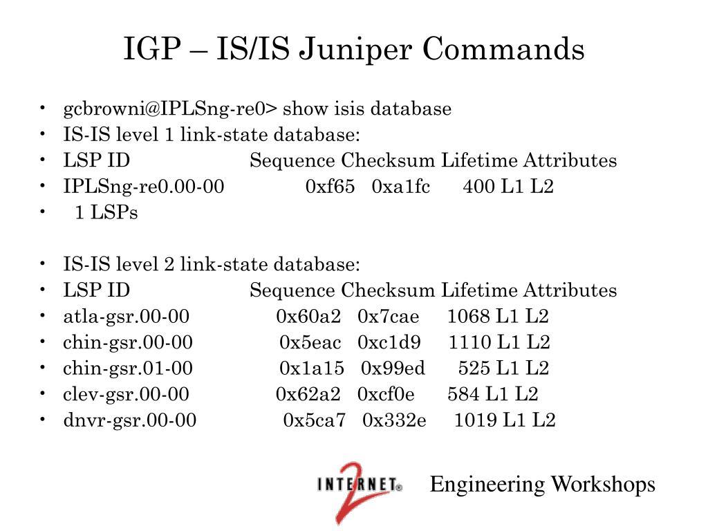 IGP – IS/IS Juniper Commands