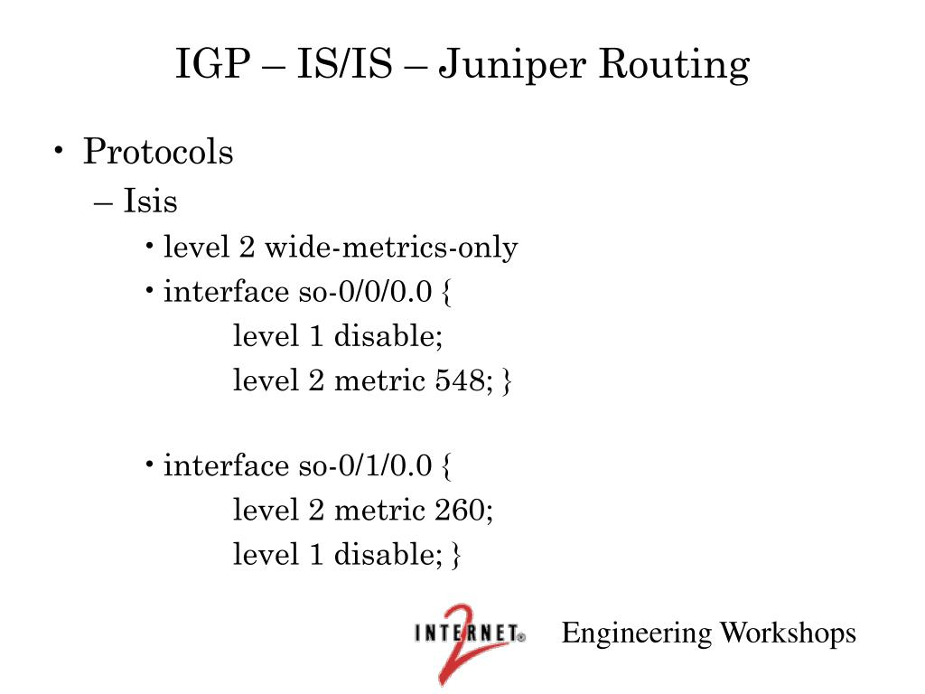 IGP – IS/IS – Juniper Routing