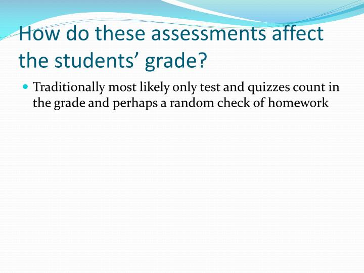 How do these assessments affect the students' grade?
