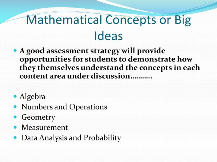 Mathematical Concepts or Big Ideas