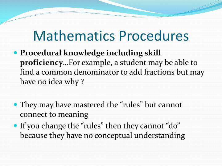 Mathematics Procedures