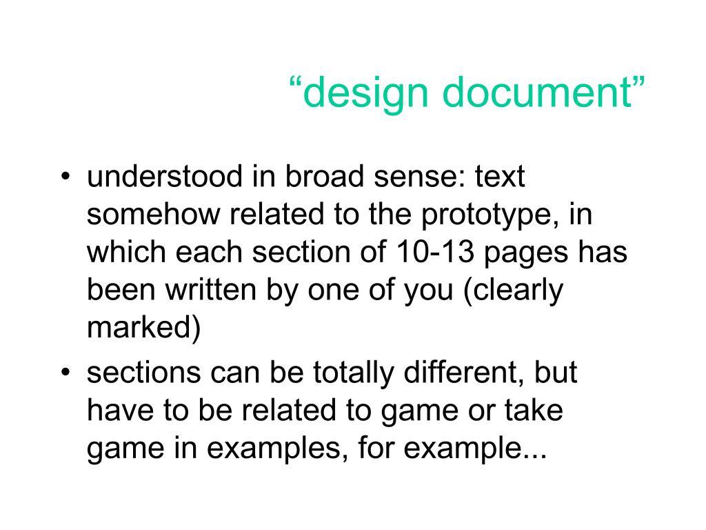 """""""design document"""""""