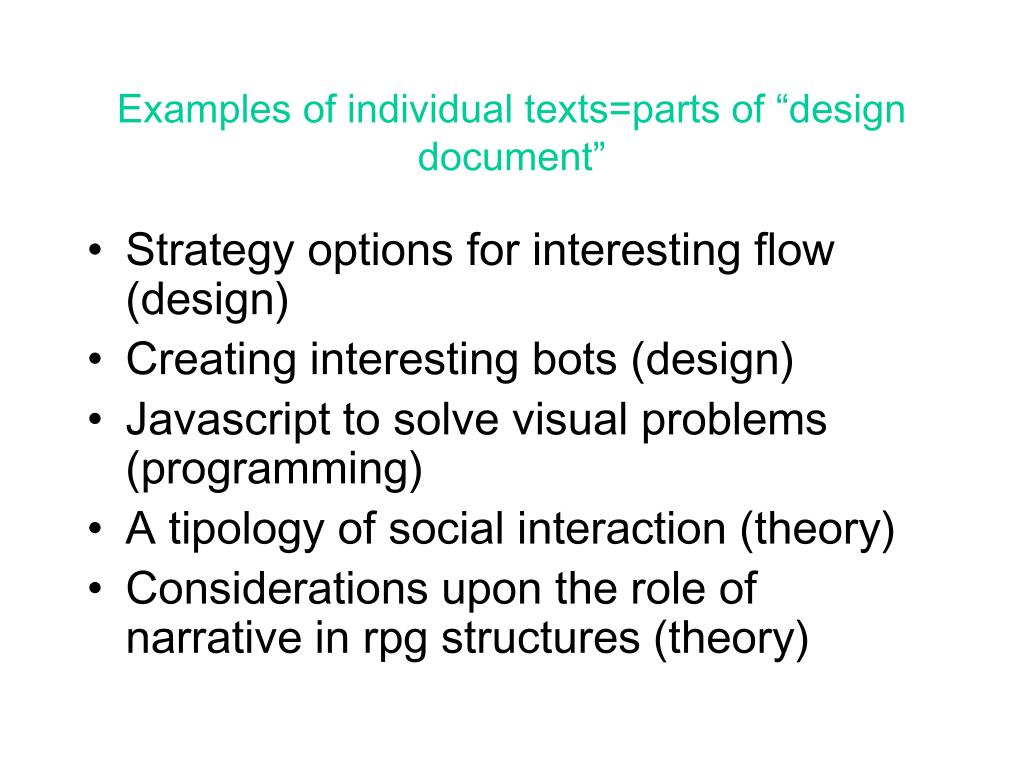 """Examples of individual texts=parts of """"design document"""""""