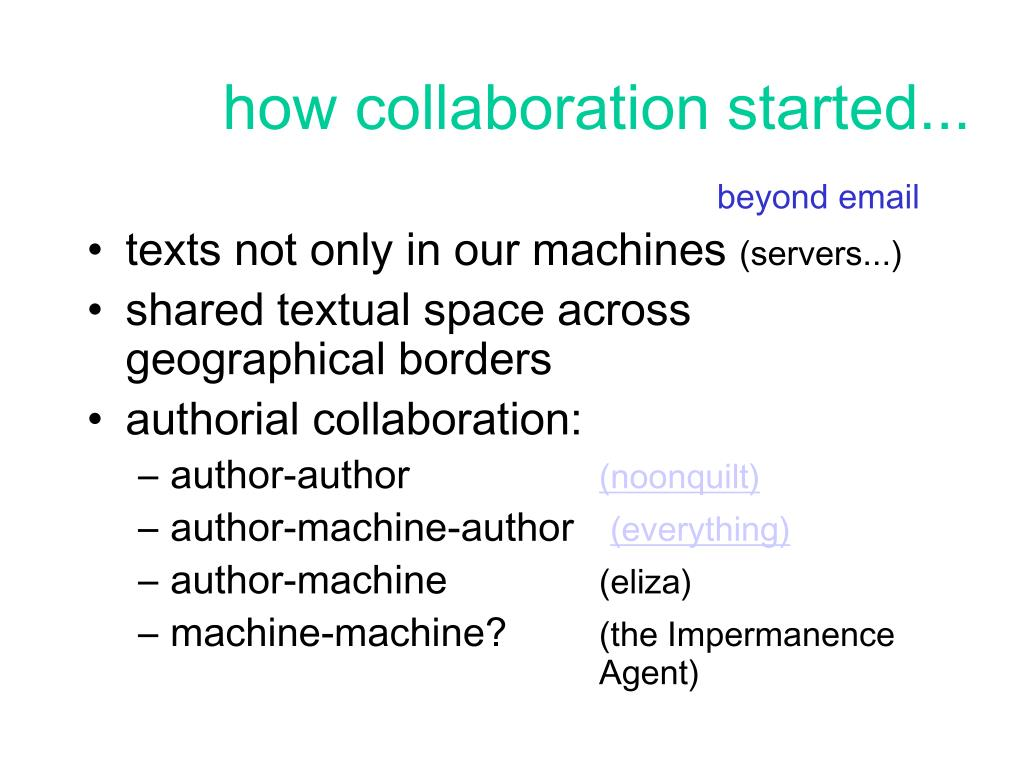 how collaboration started...
