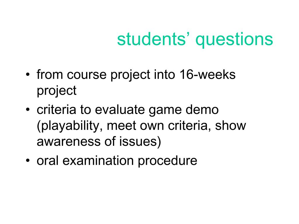 students' questions