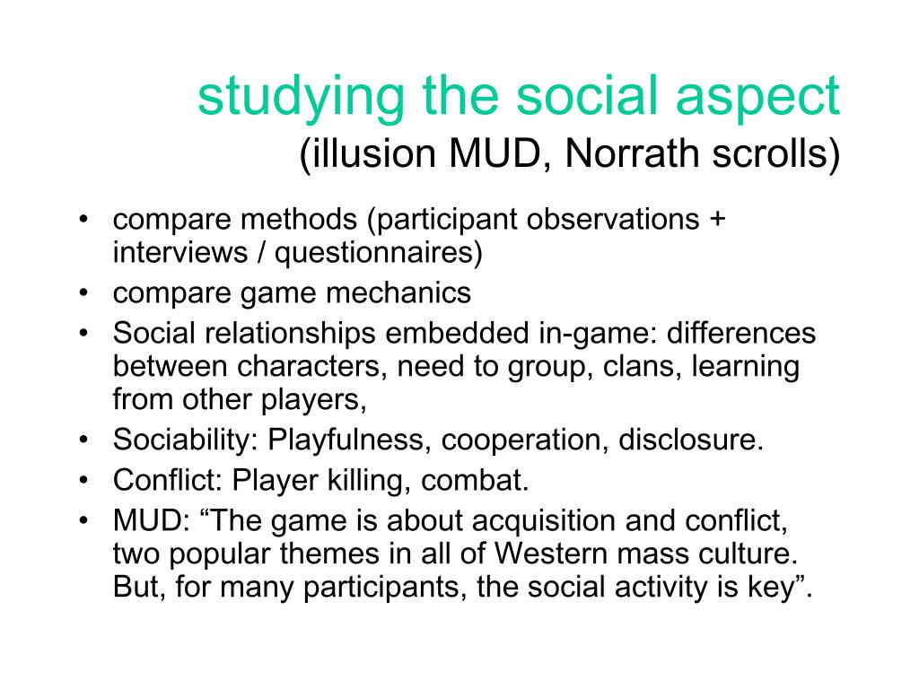 studying the social aspect
