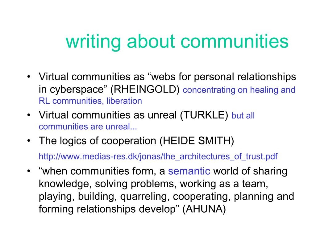 writing about communities