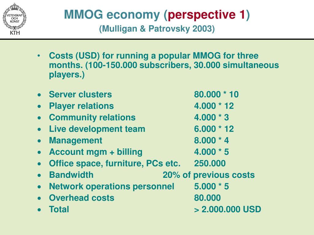 MMOG economy (
