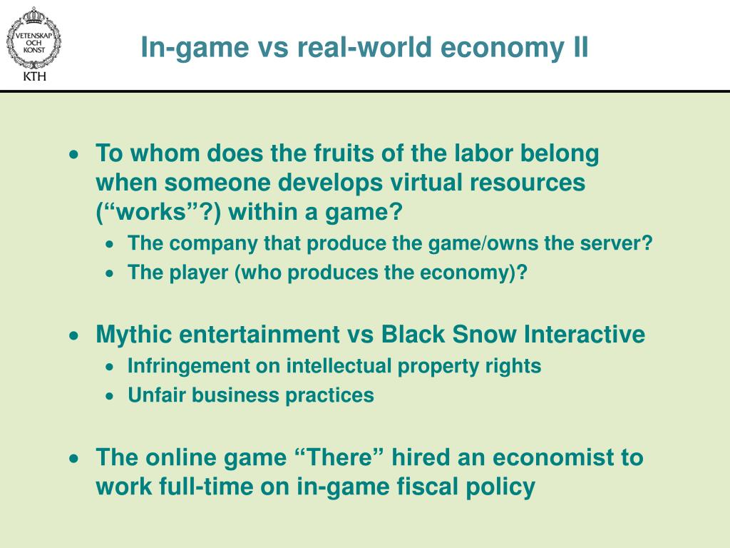 In-game vs real-world economy II