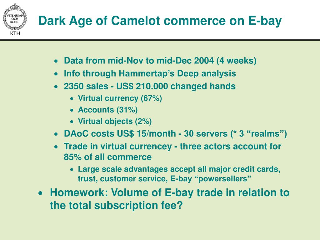 Dark Age of Camelot commerce on E-bay