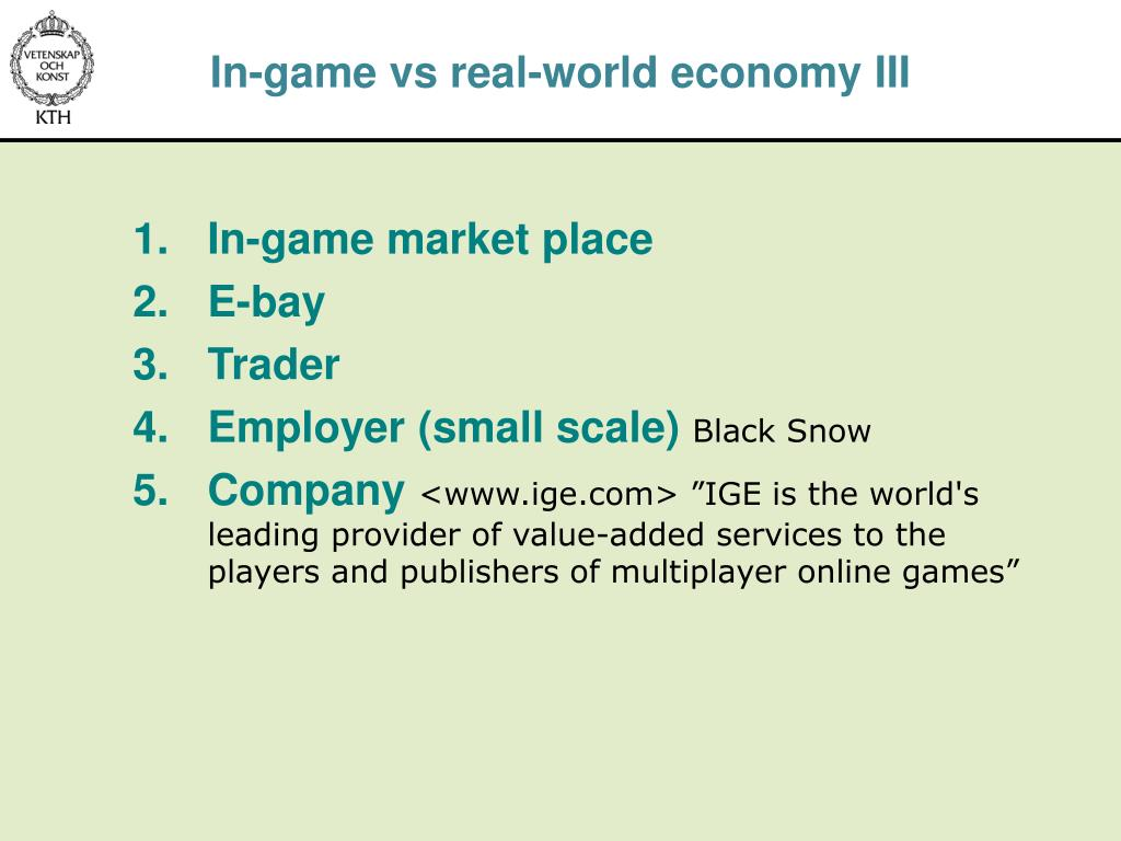 In-game vs real-world economy III