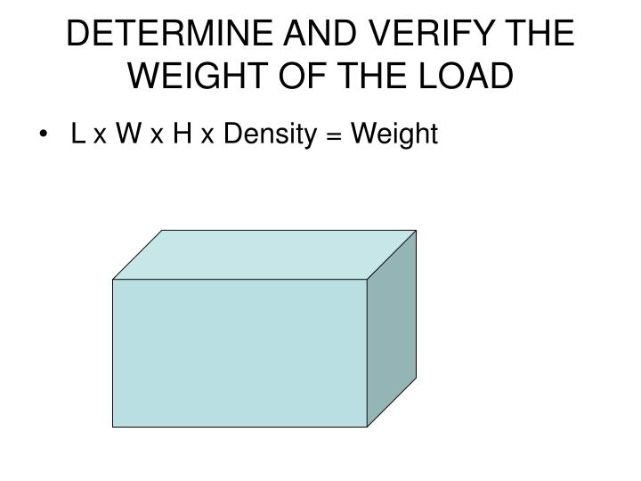 DETERMINE AND VERIFY THE WEIGHT OF THE LOAD