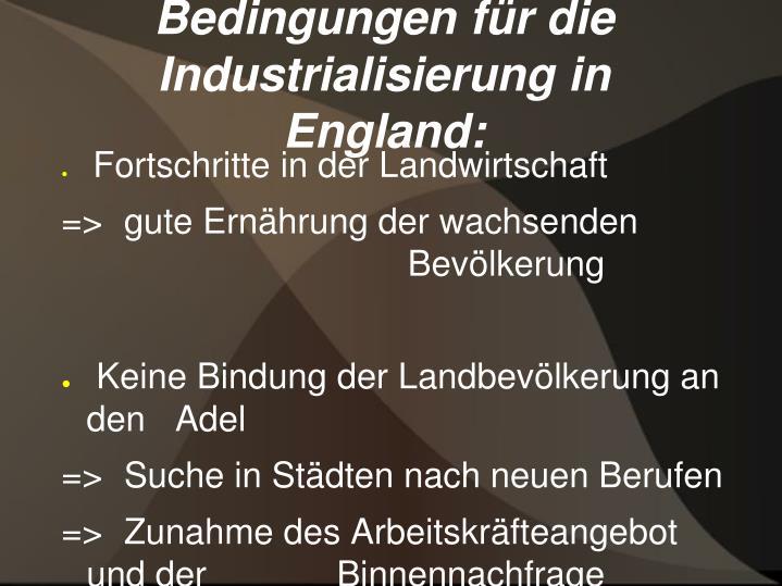 Bedingungen für die Industrialisierung in England: