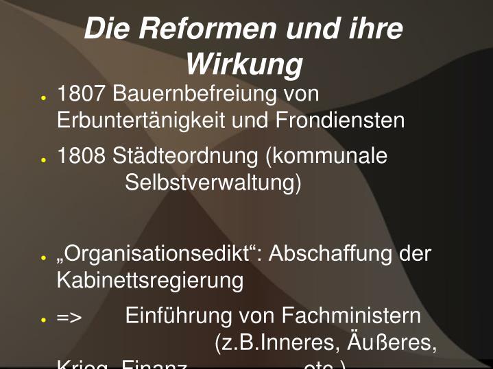 Die Reformen und ihre Wirkung