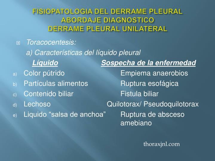 FISIOPATOLOGIA DEL DERRAME PLEURAL