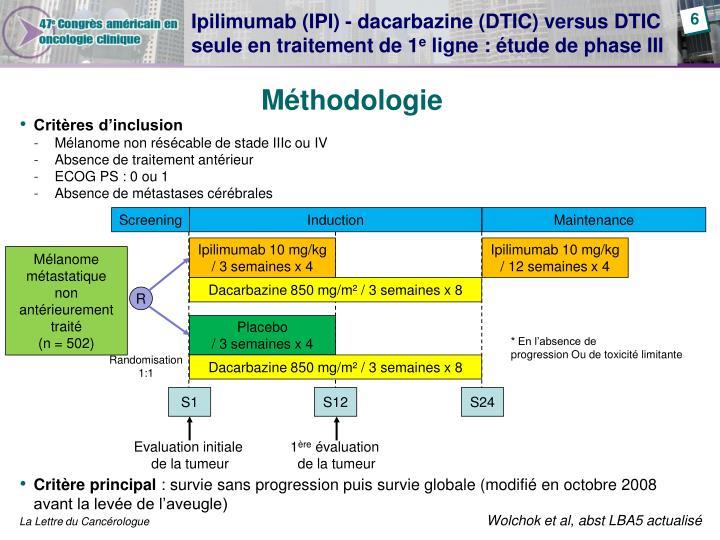 Ipilimumab (IPI) - dacarbazine (DTIC) versus DTIC seule en traitement de 1