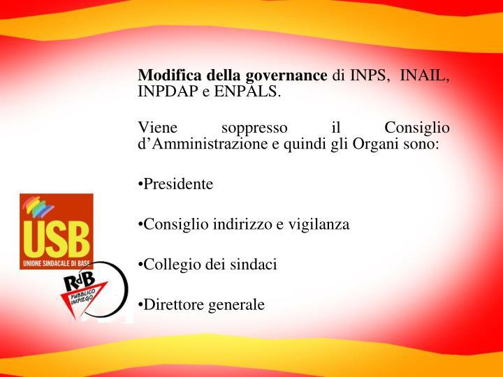 Modifica della governance
