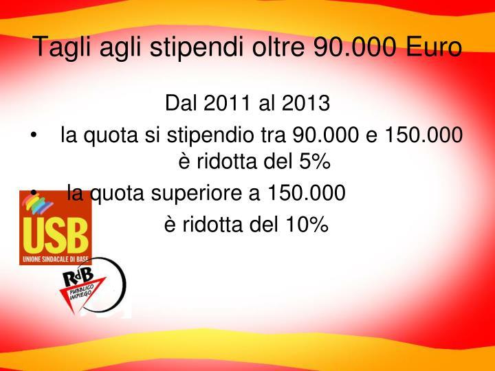 Tagli agli stipendi oltre 90.000 Euro