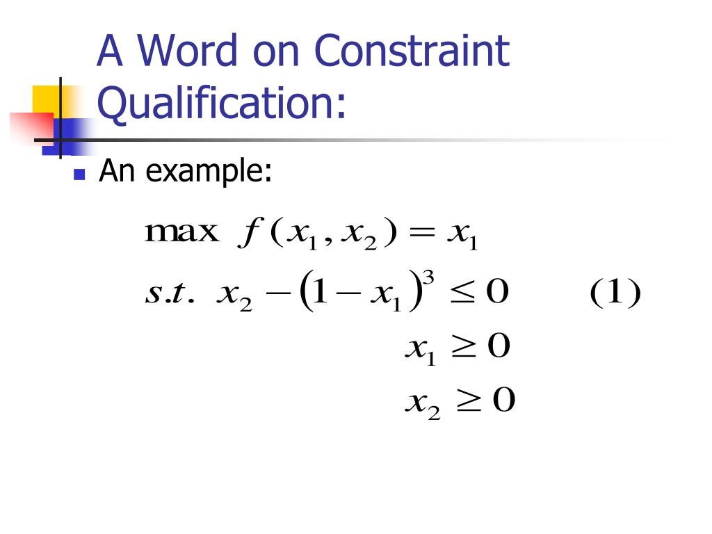 A Word on Constraint Qualification: