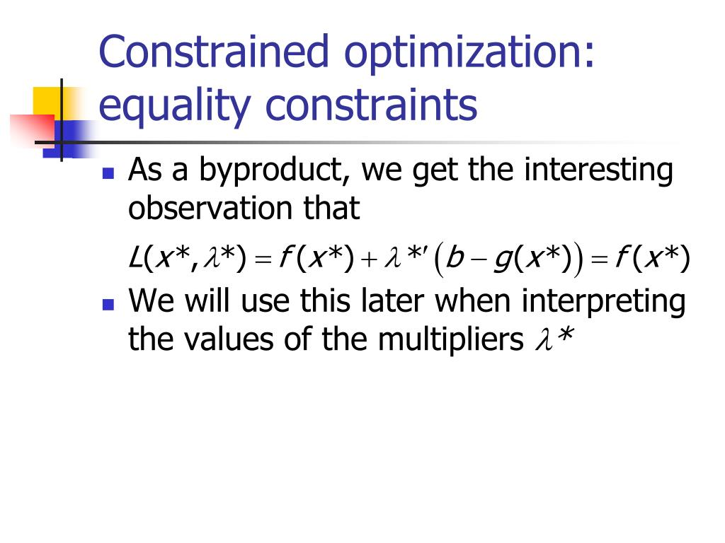Constrained optimization: equality constraints