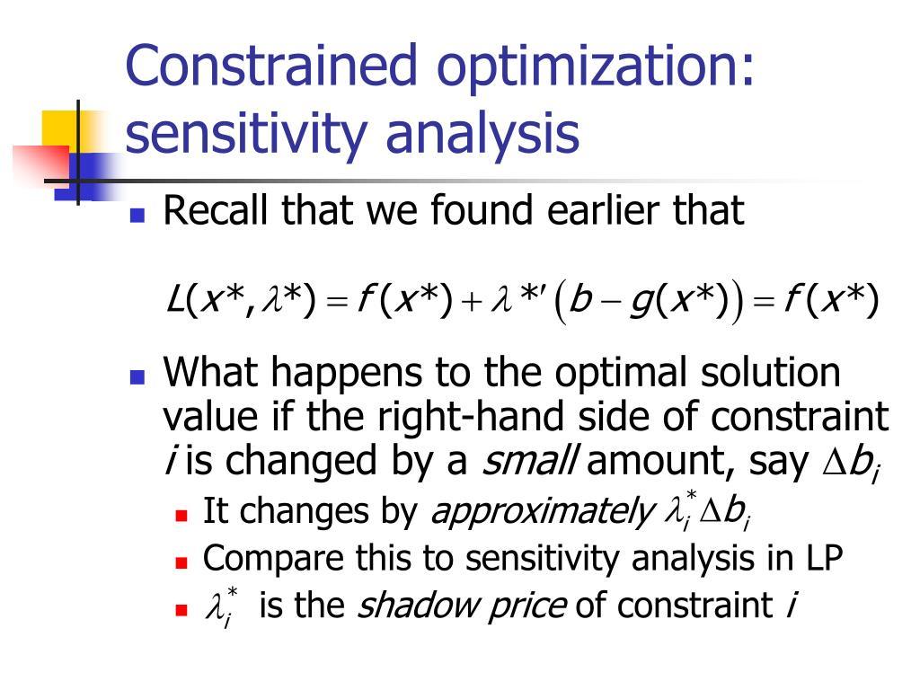 Constrained optimization: sensitivity analysis