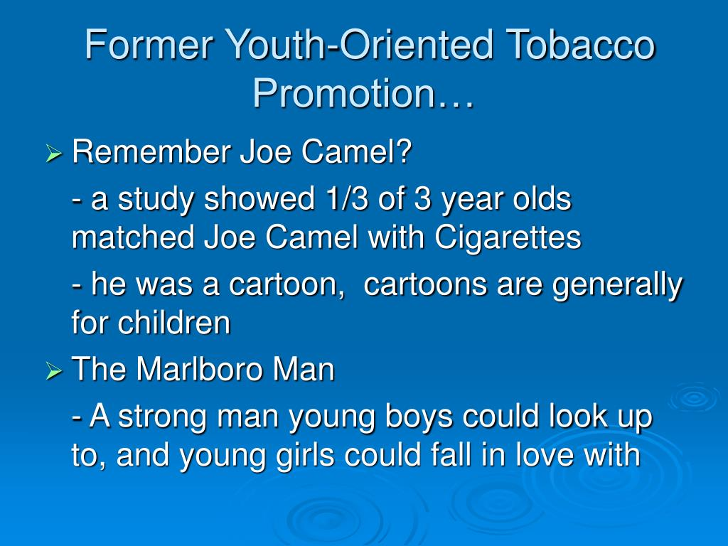 Former Youth-Oriented Tobacco Promotion…