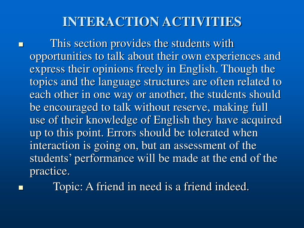 INTERACTION ACTIVITIES
