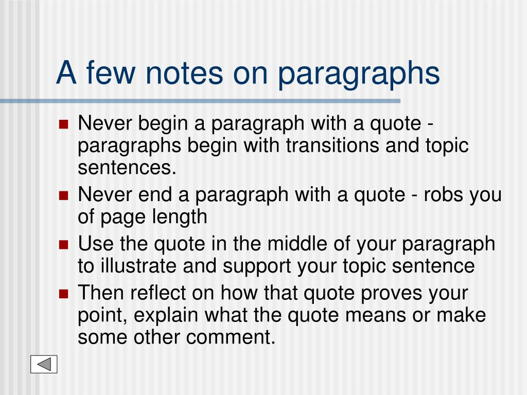 A few notes on paragraphs