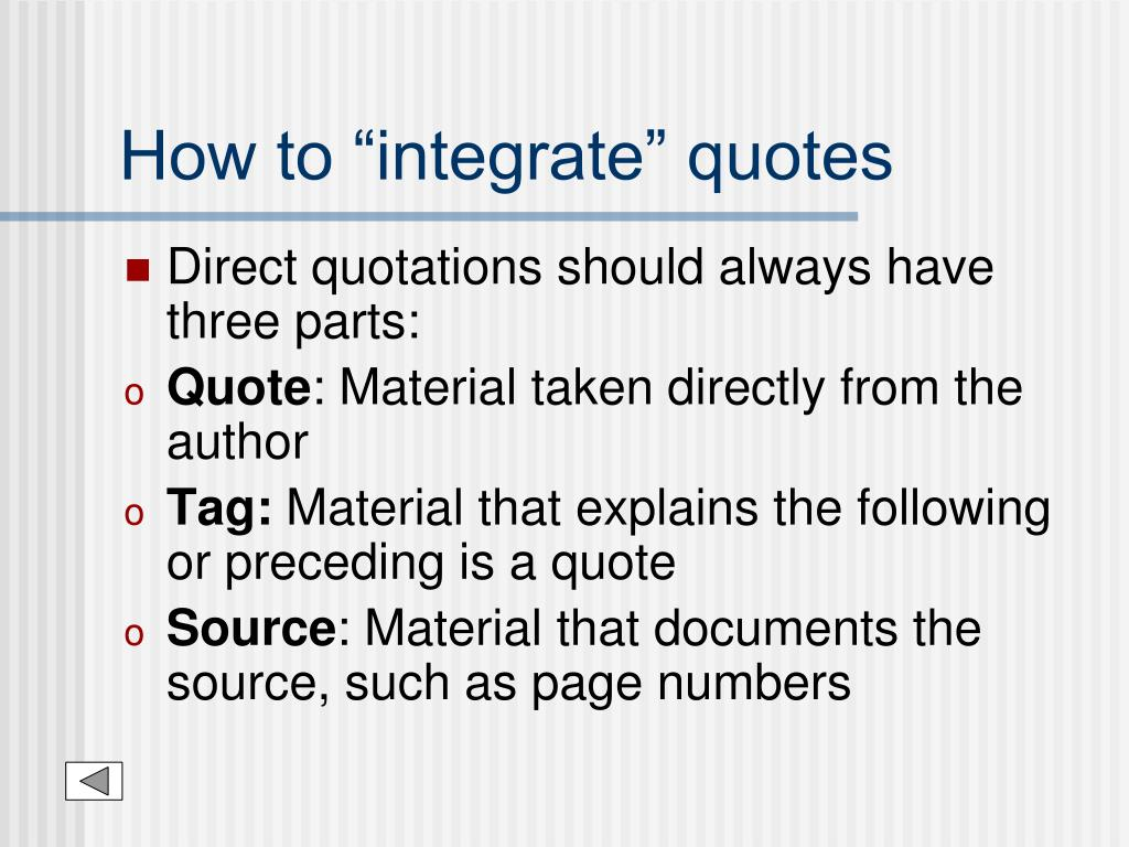 """How to """"integrate"""" quotes"""