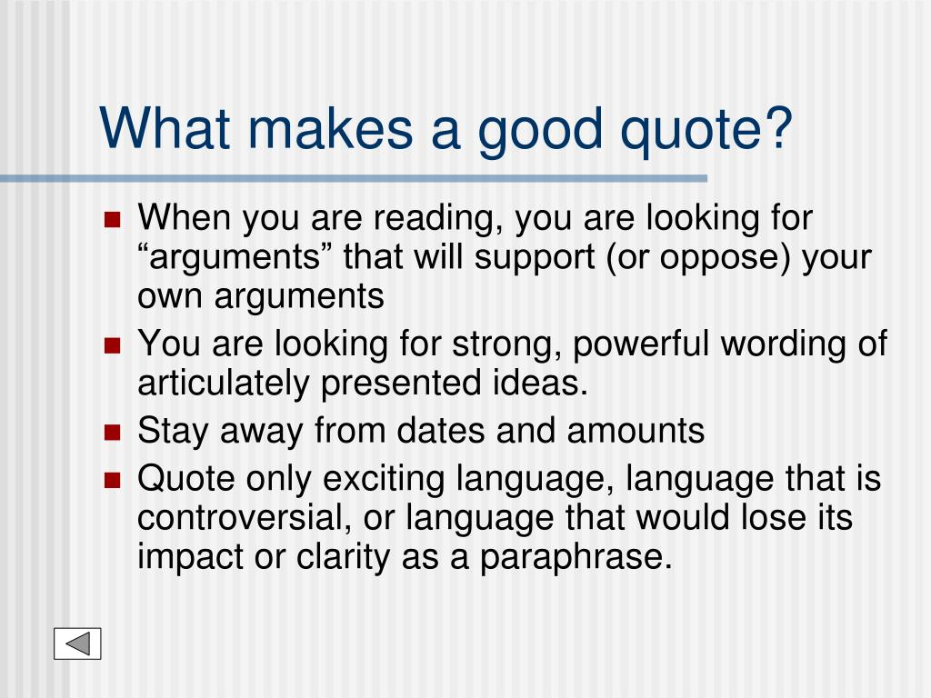 What makes a good quote?