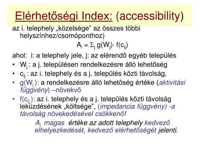 Elérhetőségi Index: