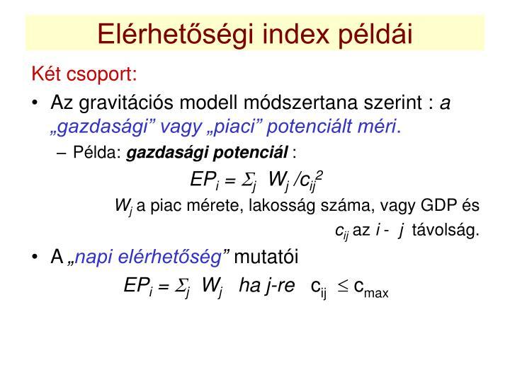 Elérhetőségi index példái