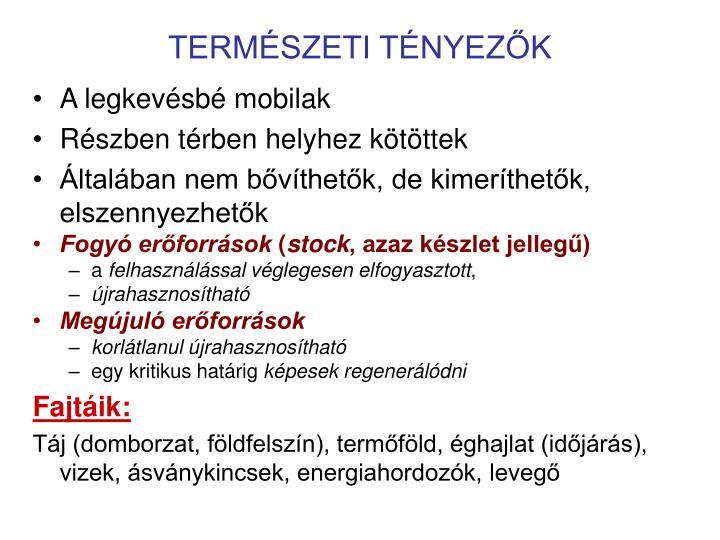 TERMÉSZETI TÉNYEZŐK