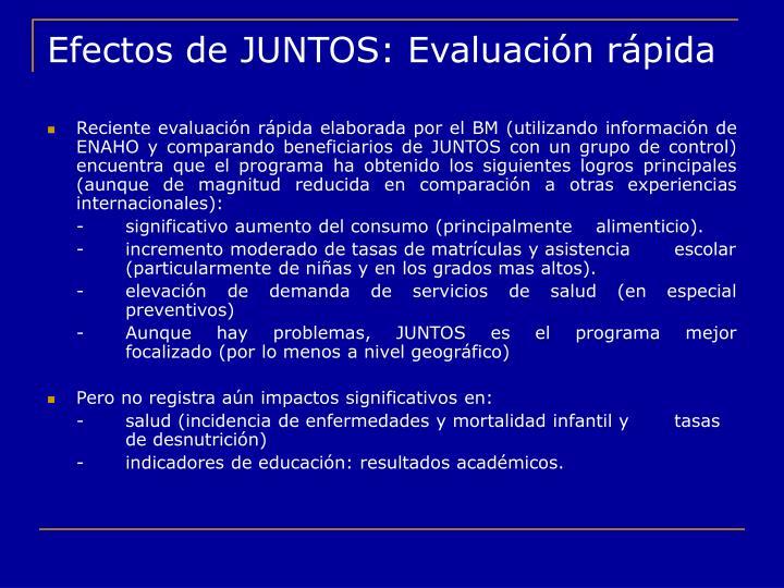 Efectos de JUNTOS: Evaluación rápida