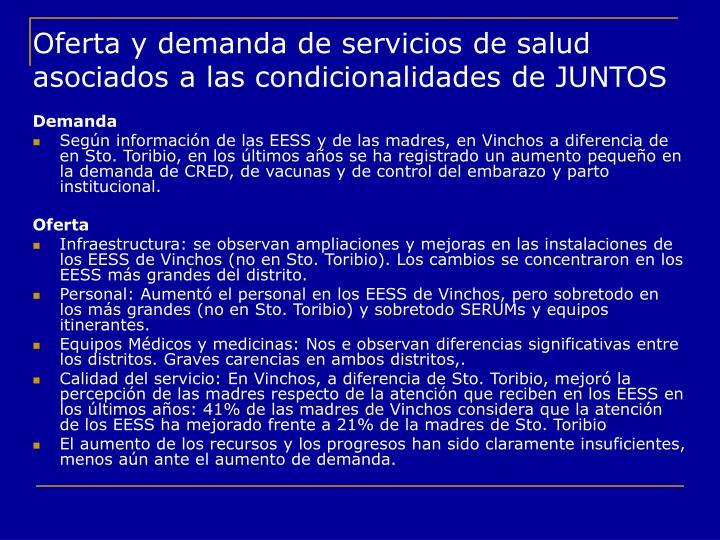 Oferta y demanda de servicios de salud asociados a las condicionalidades de JUNTOS